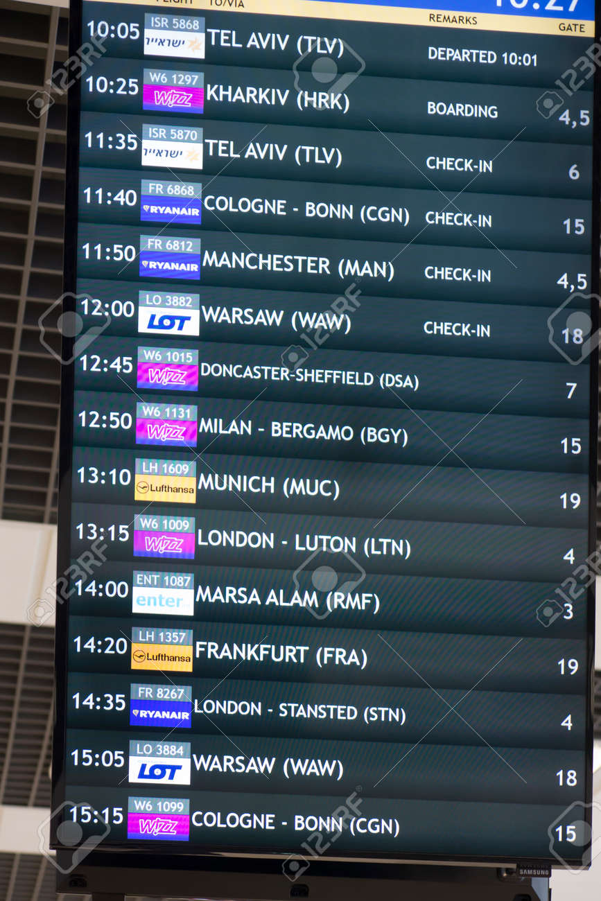 Katowice, Poland, January 25, 2020: Departures information board, Katowice Airport, Pyrzowice, place of waiting before the departure of the plane. - 158443615