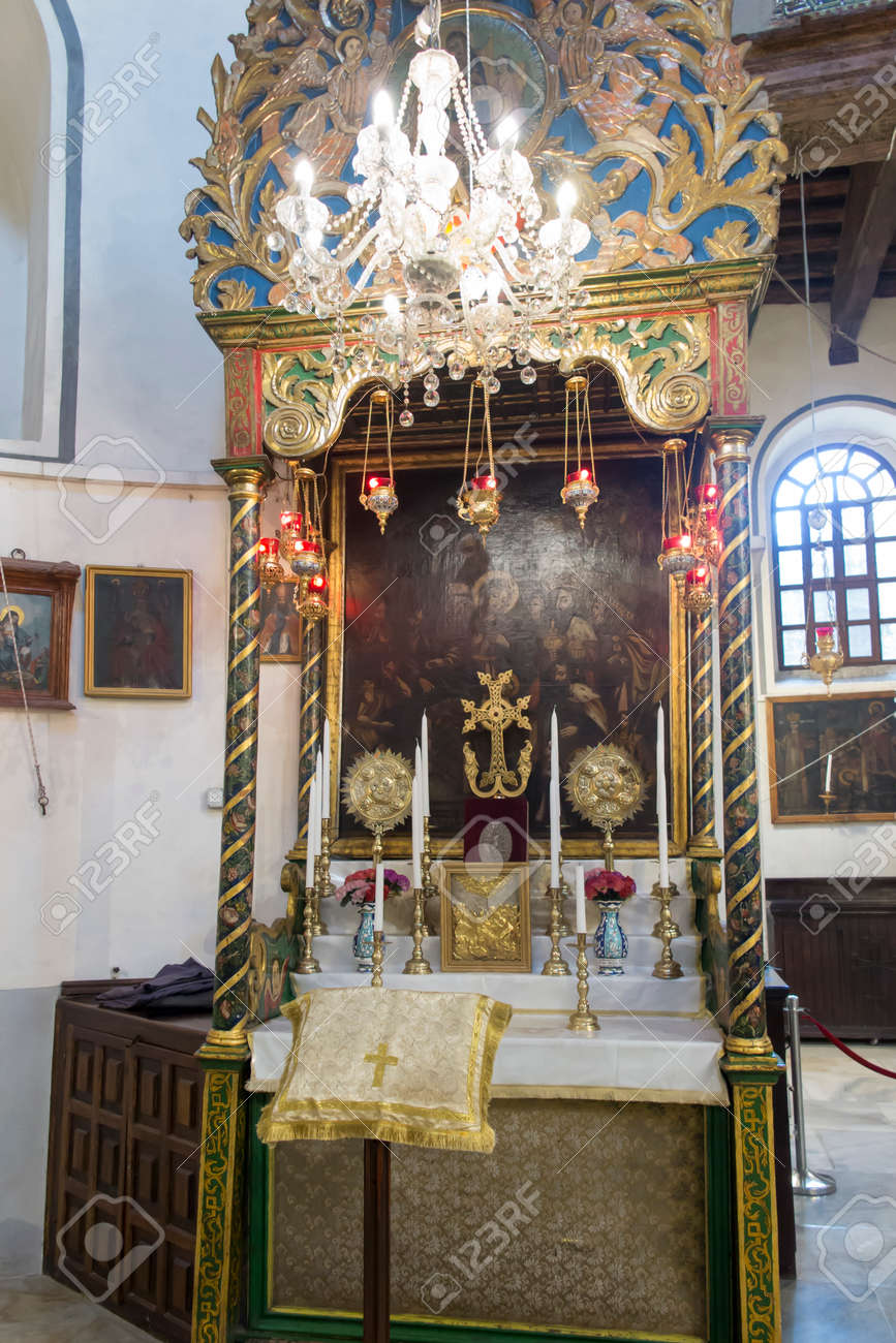 Bethlehem, Palestine - January 28, 2020: Fragment of the renovated interior of the Basilica of the Nativity in Bethlehem. Mosaics on the walls, side altar - 158443610