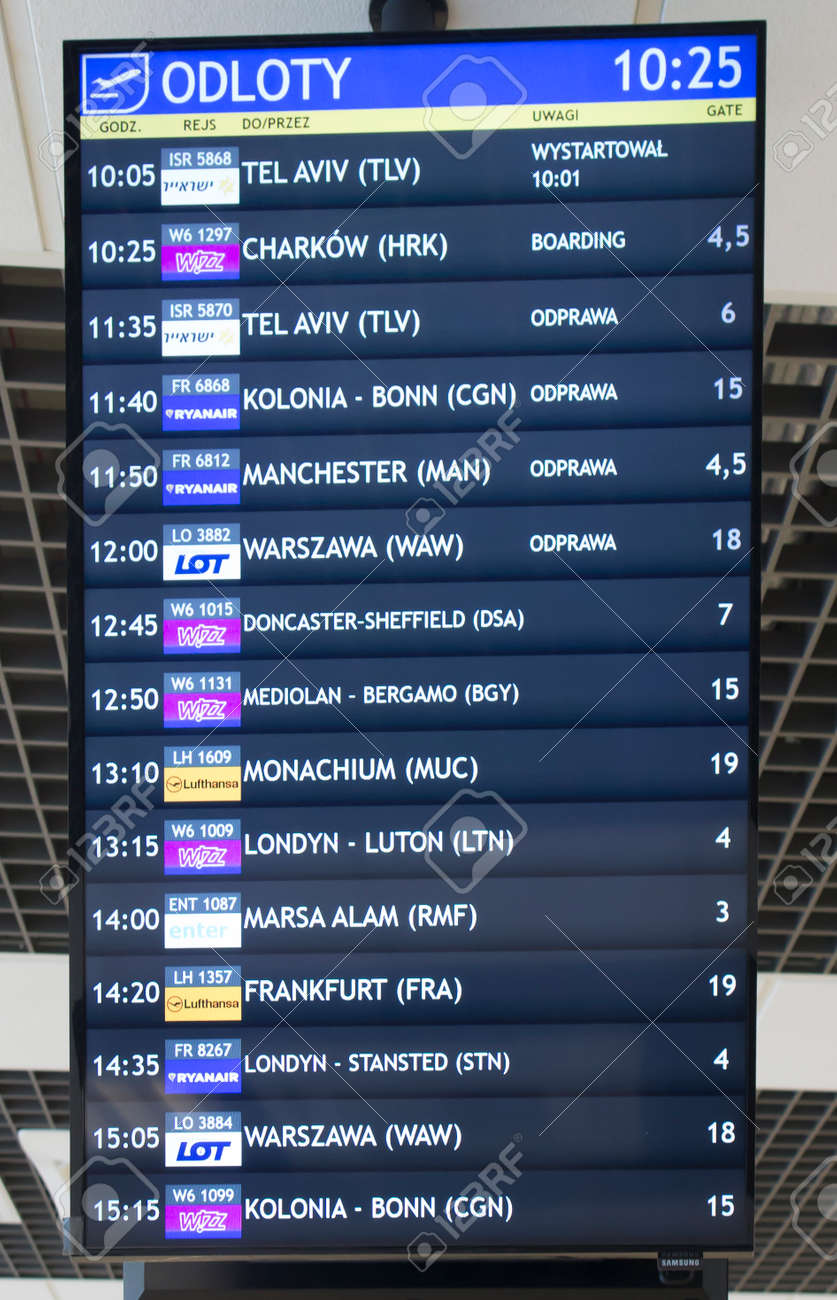 Katowice, Poland, January 25, 2020: Departures information board, Katowice Airport, Pyrzowice, place of waiting before the departure of the plane. - 158443607
