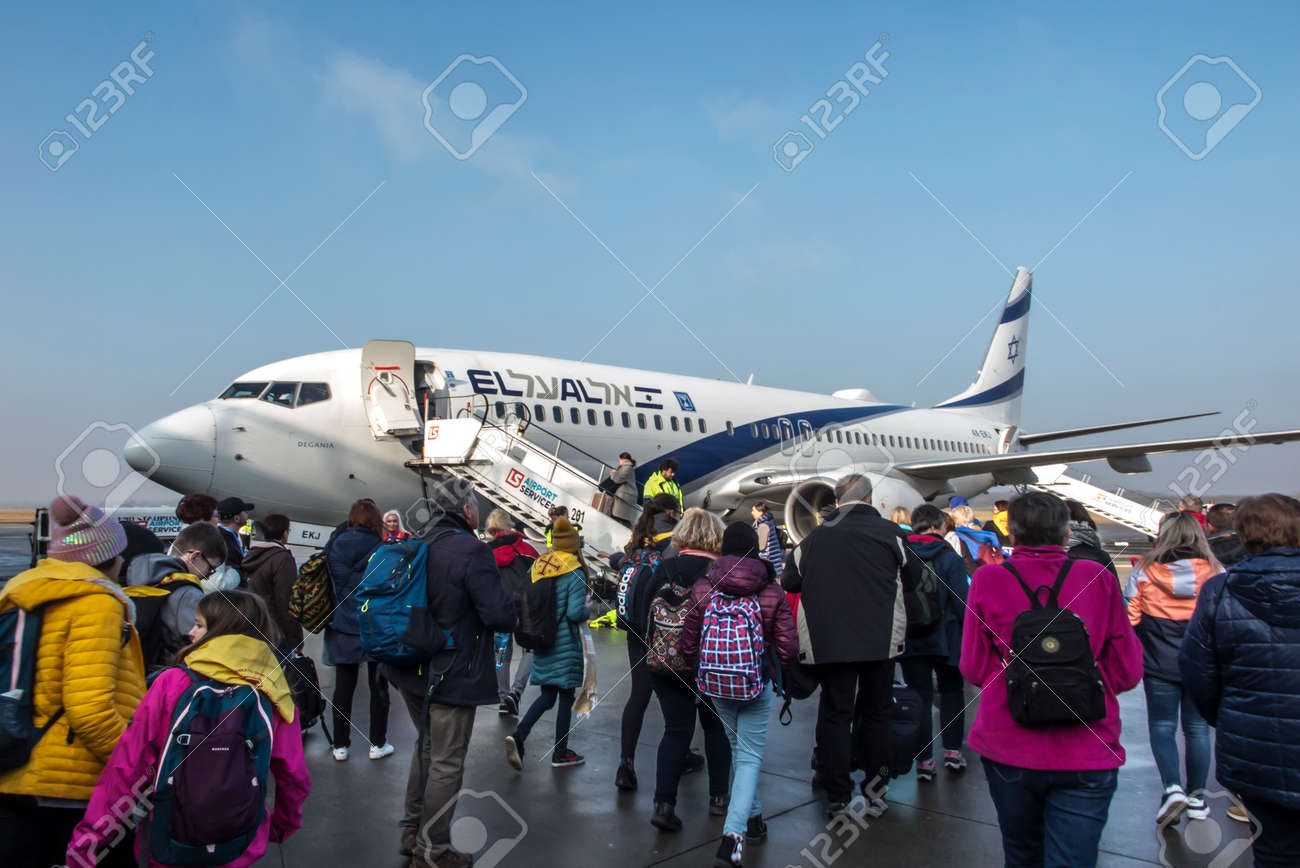 Katowice, Poland, January 25, 2020: Boarding the plane directly from the apron of Katowice Airport, Pyrzowice, Poland - 158443604