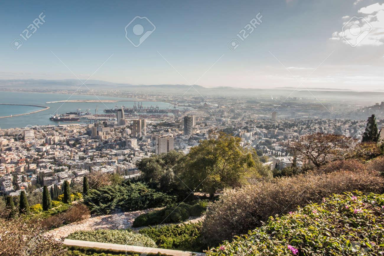 View of Haifa from the hill. Haifa is an Israeli city and port on the Mediterranean Sea. - 157912247