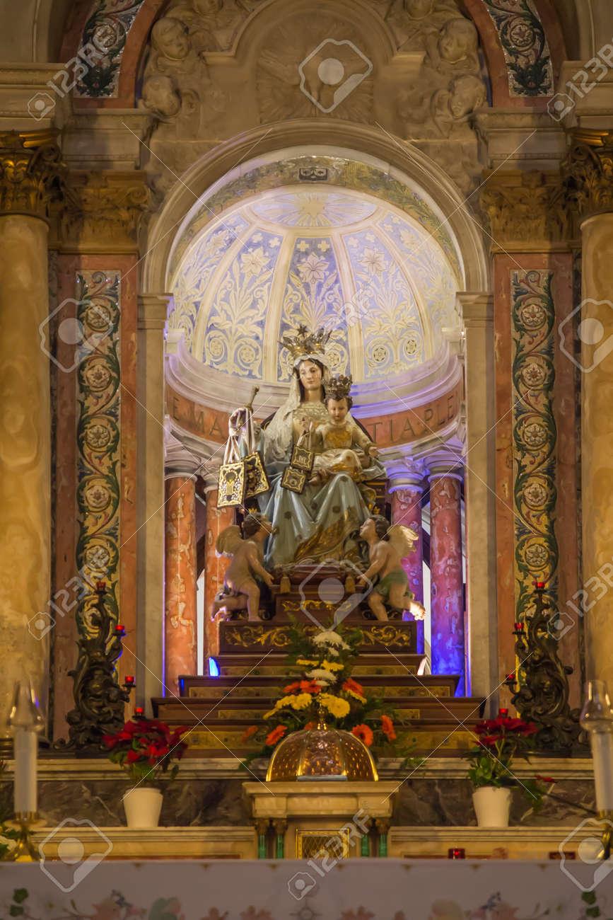 Haifa, Israel, January 26, 2020: Interior and altar at the famous Stella Maris church in Haifa, Israel - 157892599