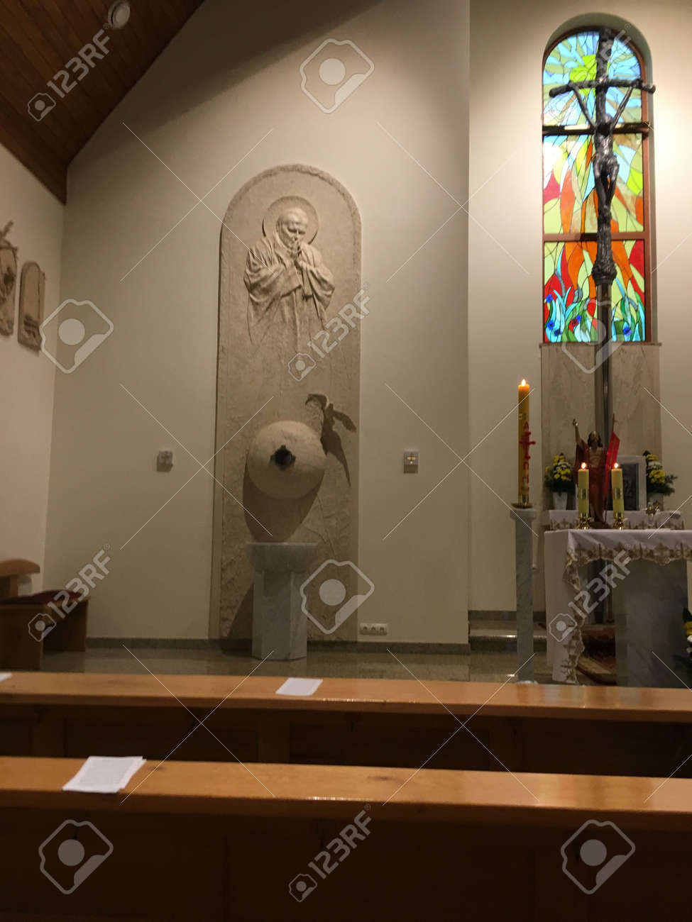 Dyrdy, Poland, May 30, 2017: The interior of the branch church of Saint John Paul II in Dyrdy, Miotek parish in the Diocese of Gliwice - 158443603