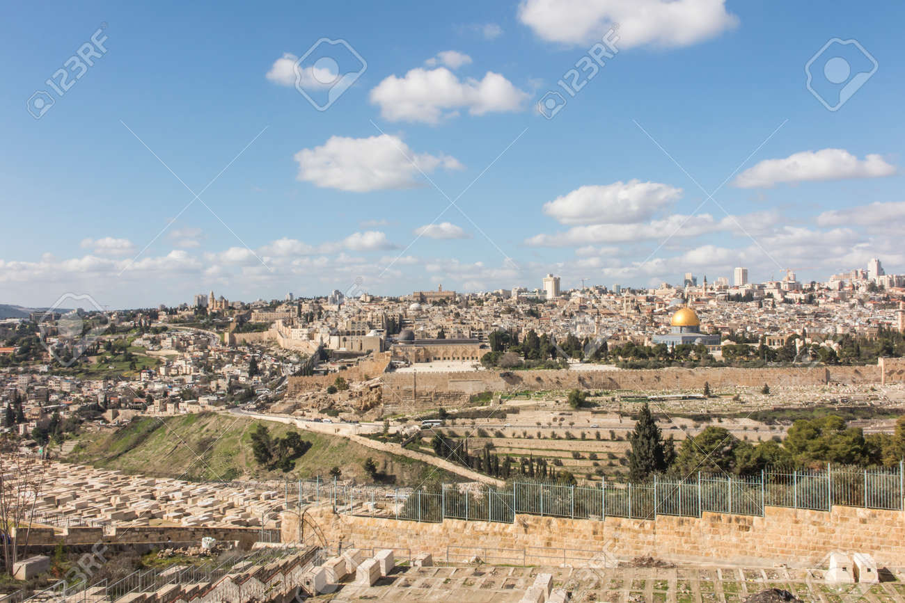 Panorama overlooking the Old City of Jerusalem, Israel, including the Dome of the Rock and the Western Wall. Taken from the Mount of Olives. - 157852302