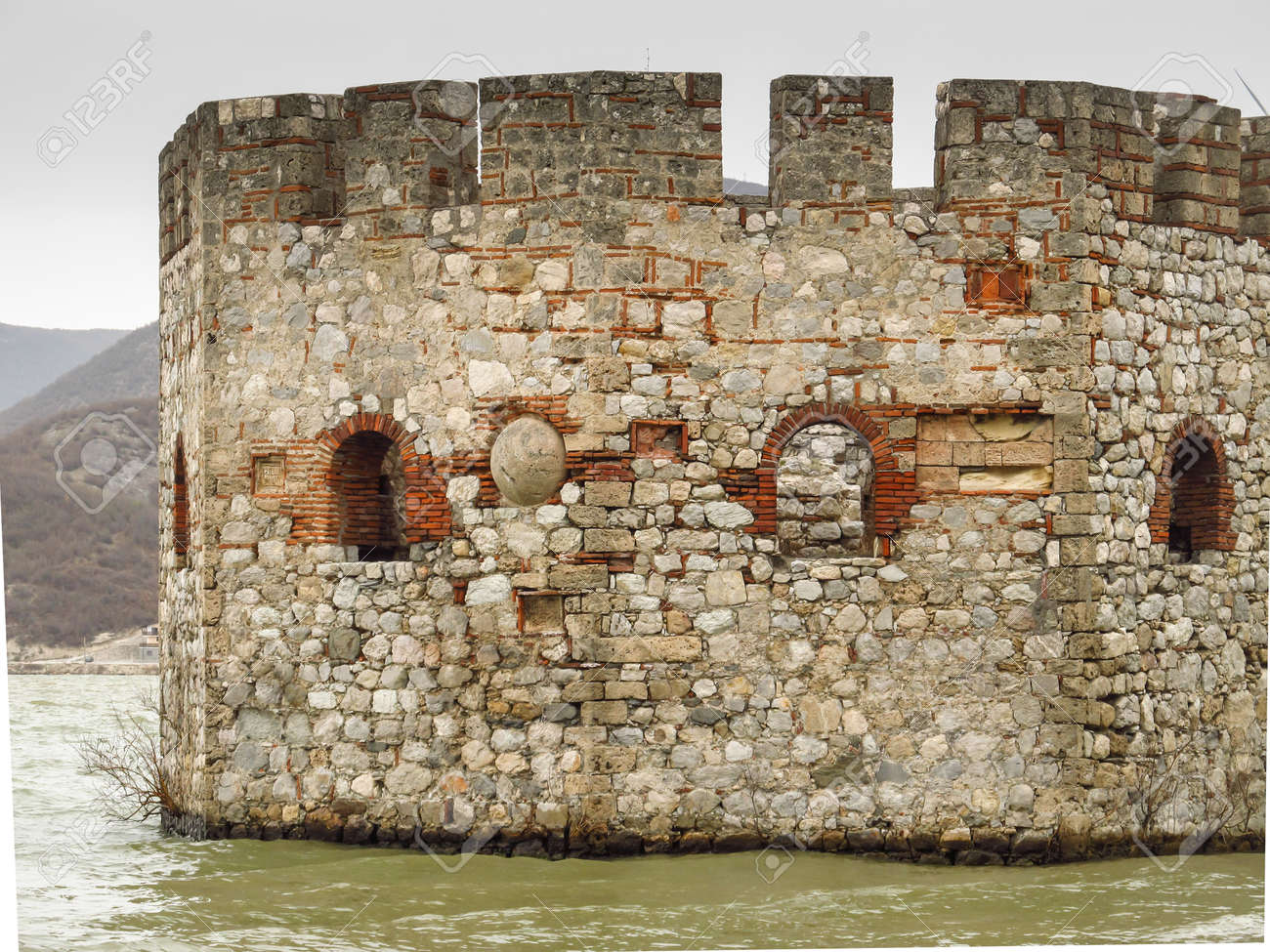 tower and the ruins of the castle Golubac in Serbia on the Danube - 157912286