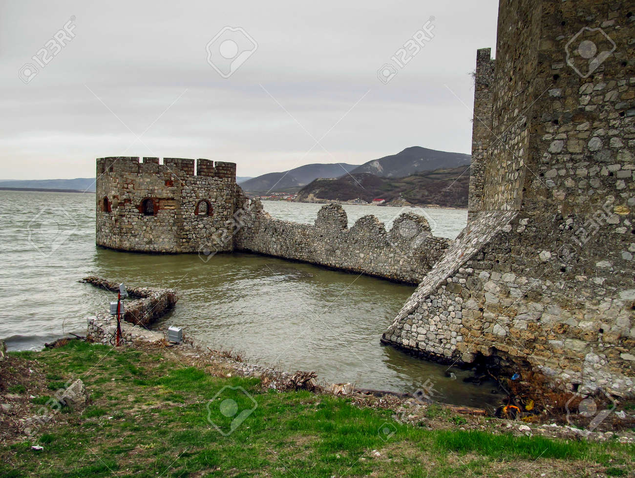 tower and the ruins of the castle Golubac in Serbia on the Danube - 158264337