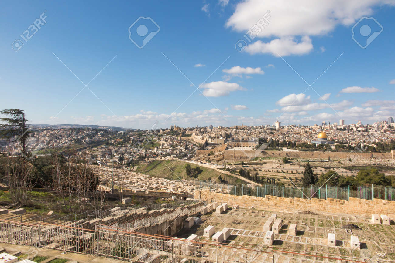 Panorama overlooking the Old City of Jerusalem, Israel, including the Dome of the Rock and the Western Wall. Taken from the Mount of Olives. - 158195415
