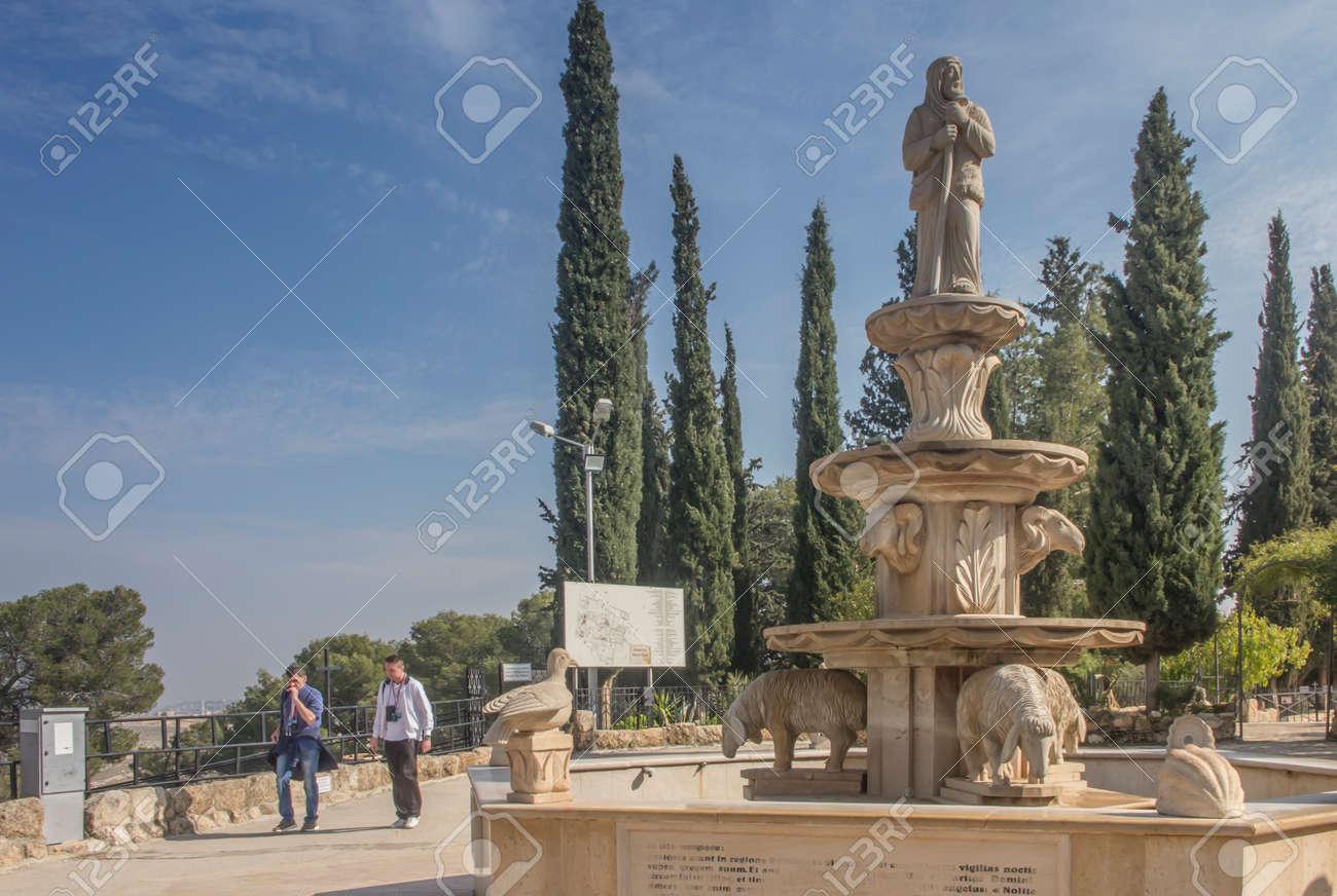 Bethlehem, Palestine - January 28, 2020: Fountain on the shepherds in Bethlehem, Good Shepherd, Israel - 157894958