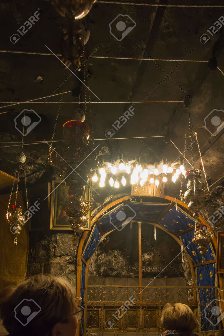 Bethlehem, Palestine - January 28, 2020: The traditional site of the birth of Jesus in Bethlehem's Church of the Nativity, Bethlehem, Palestine on January 28, 2020. - 157894966