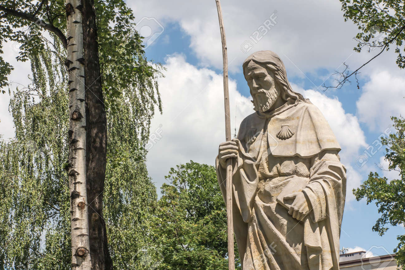 Statue of Saint James next to the church of St. Jakub in CzÄ™stochowa in Poland. The place where three pilgrimage routes descend to Santiago de Compostela - Camino - 158013578