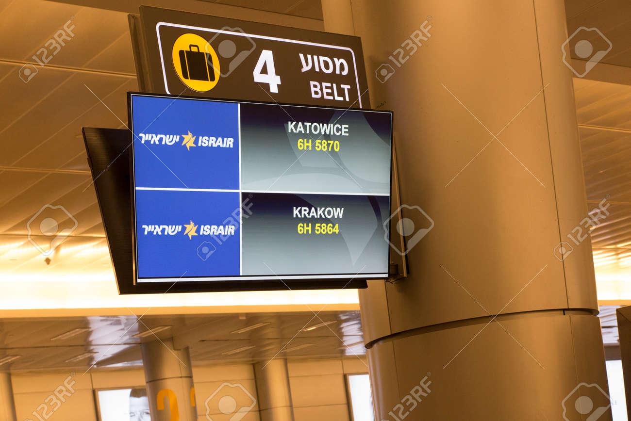 TEL AVIV, ISRAEL, JANUARY 25, 2020: Tape number signs, baggage pickup location at Tel Aviv airport, Israel. - 159485075