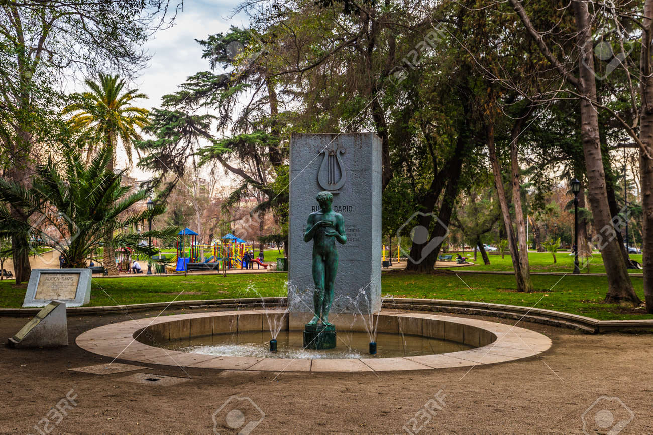 Chile   July 08, 2017: Memorial Statue In The Gardens Of Santiago De Chile