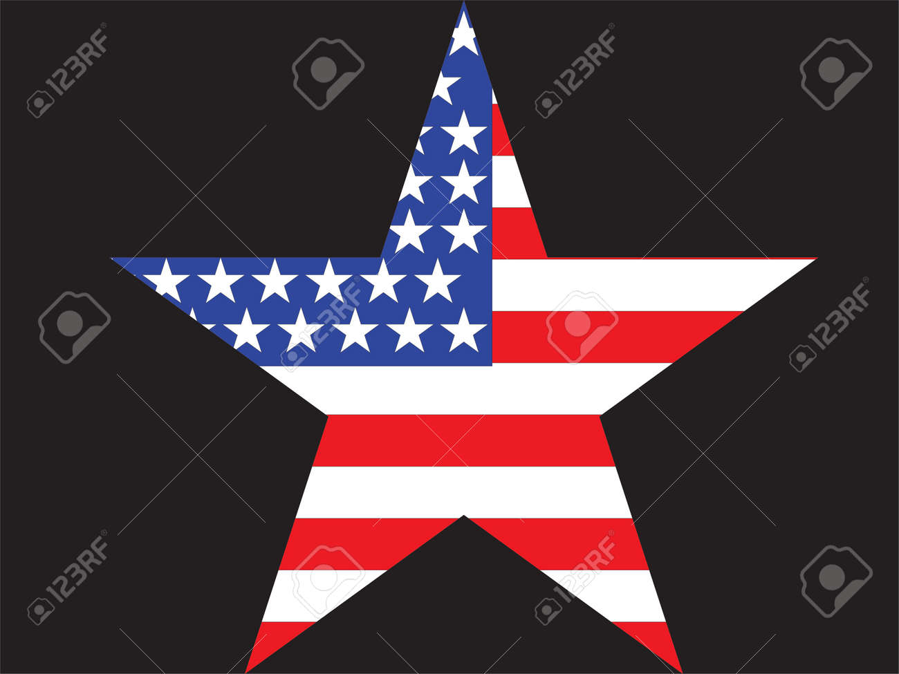 big star american flag on black background stock photo picture and