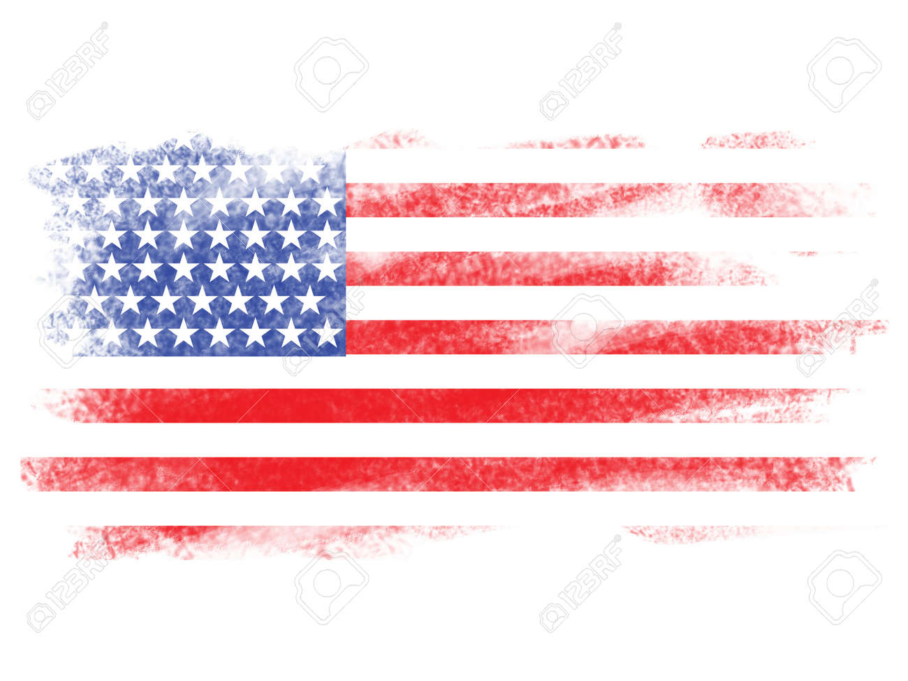 Fade American Flag On White Blackground
