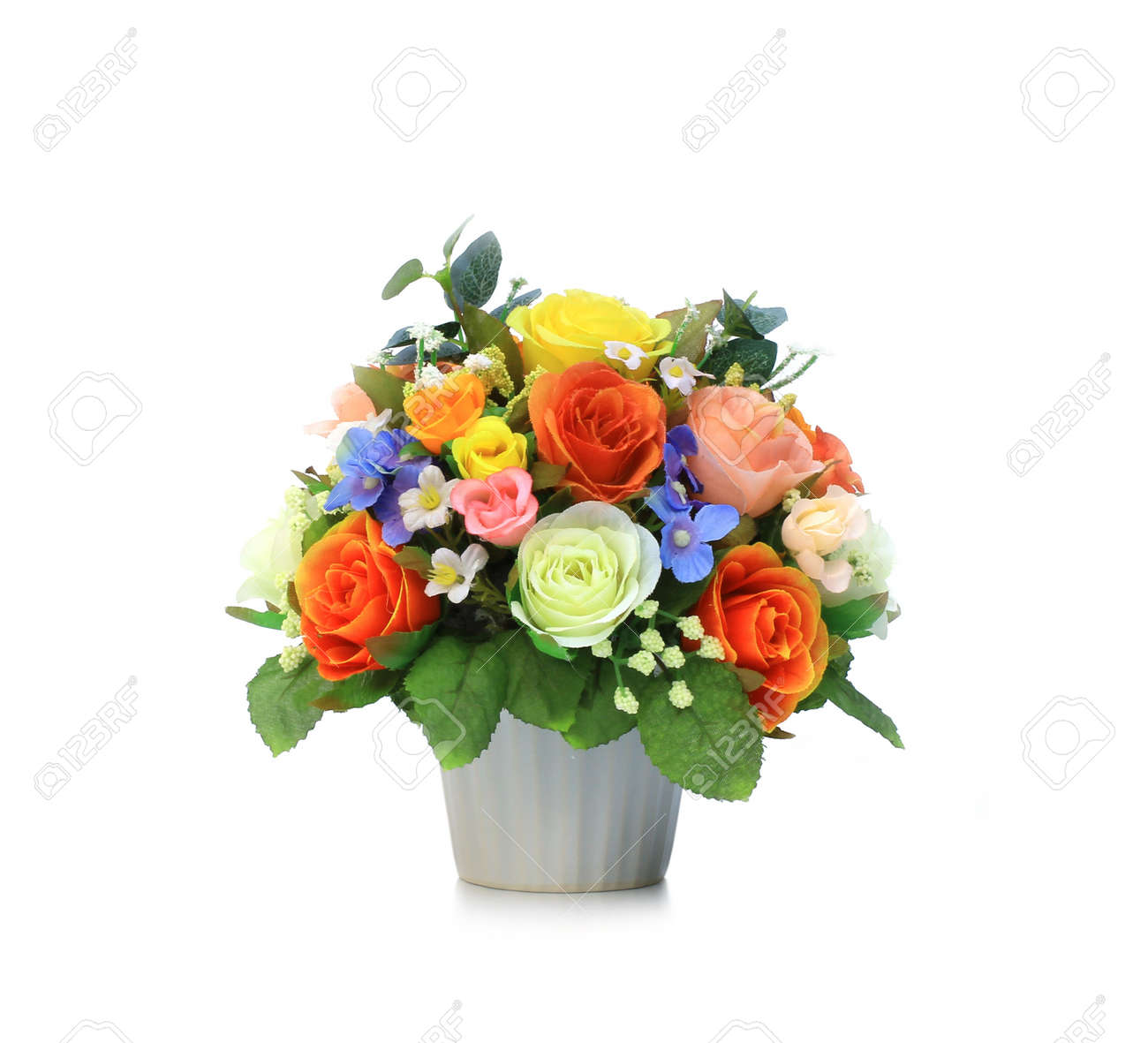 Colorful Artificial Flower Arrangement On White Background Stock