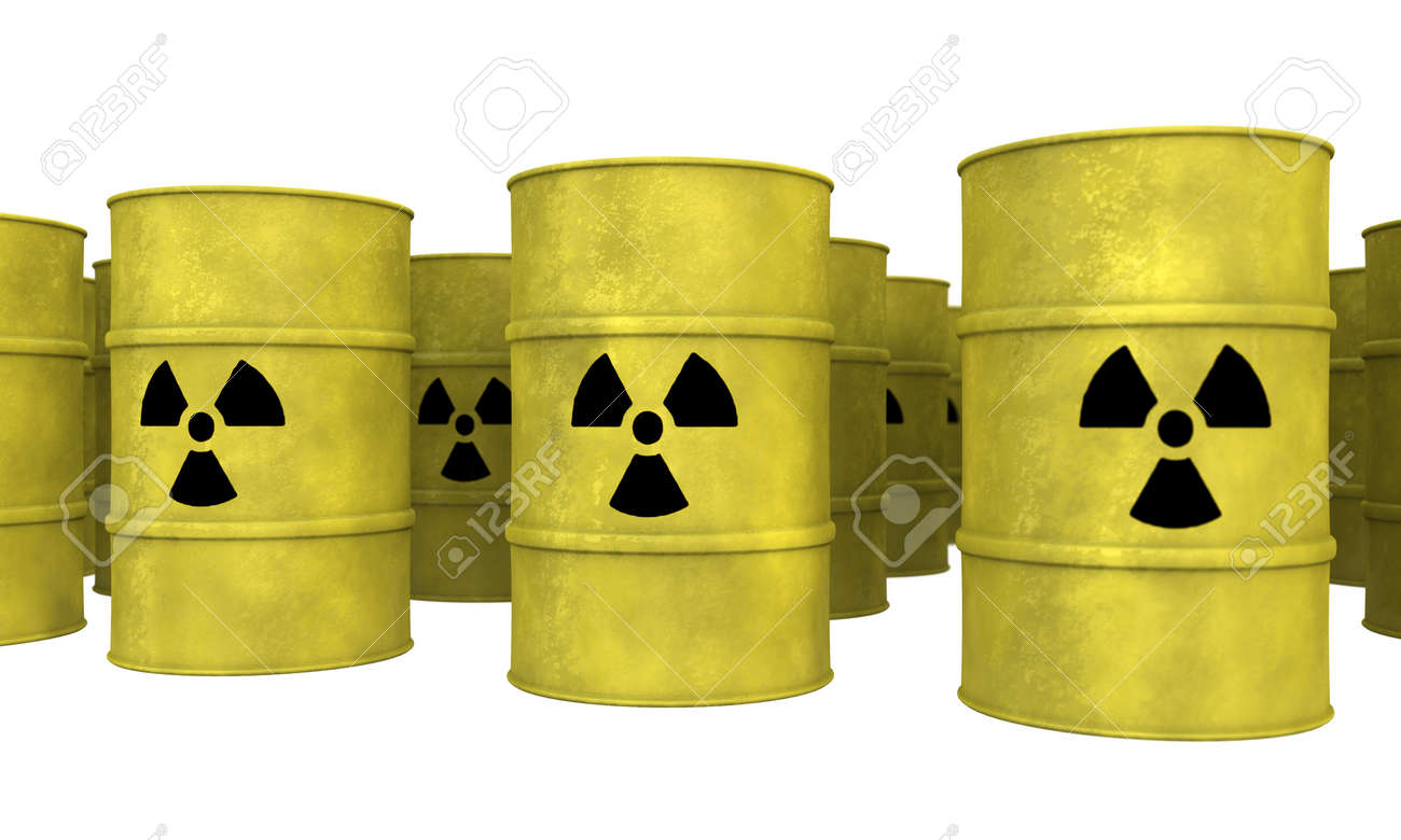 rows of yellow nuclear waste barrel Stock Photo - 9689827