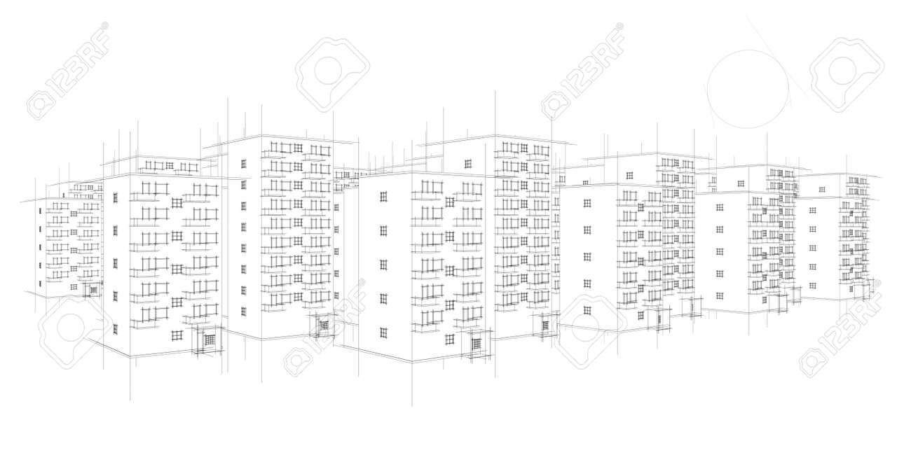 wild illustration of housing area Stock Illustration - 9797285