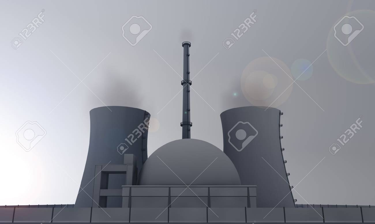 illustration of nuclear power plant in the evening Stock Illustration - 10193856
