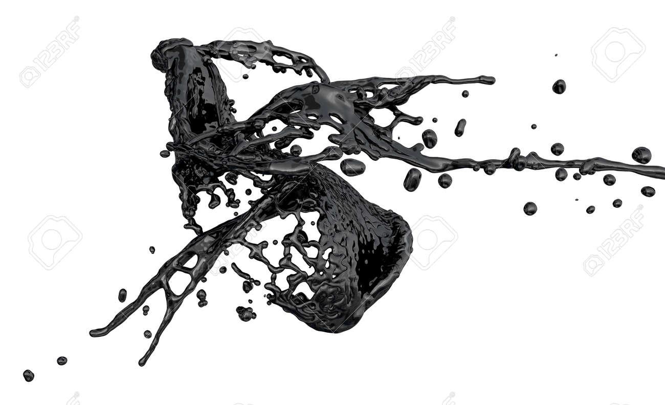 Black color splash isolated on white stock photo 15035551