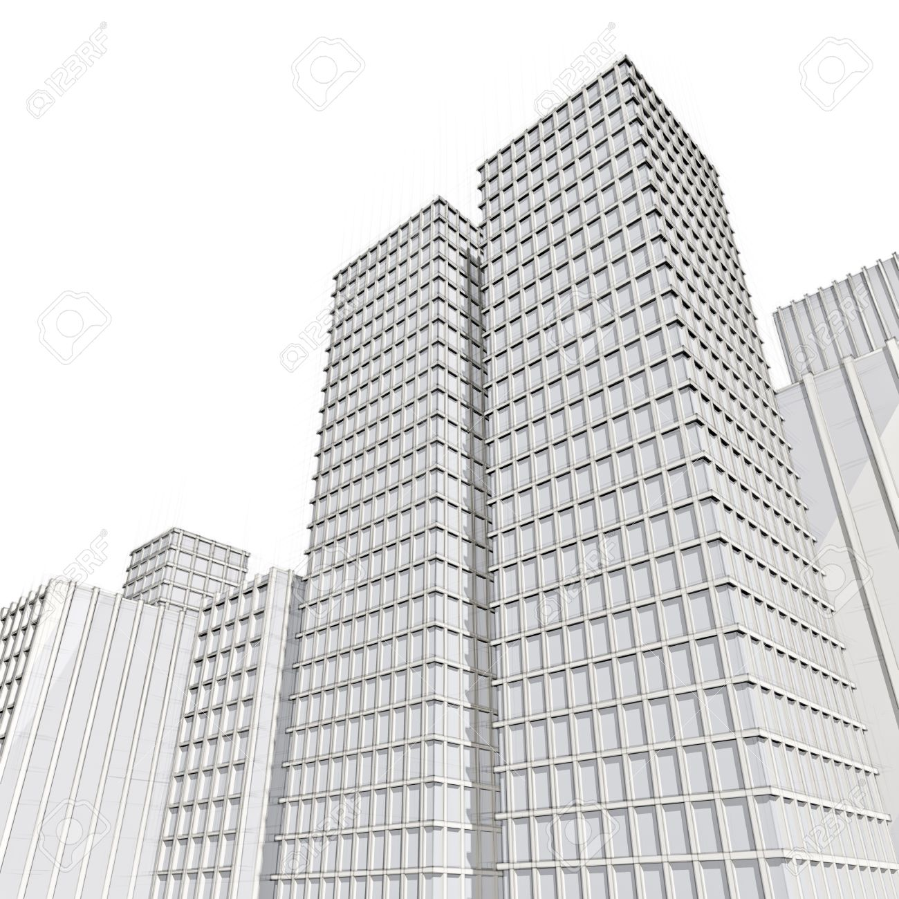 Architectural Drawings Of Skyscrapers architecture drawing of skyscraper in big city stock photo