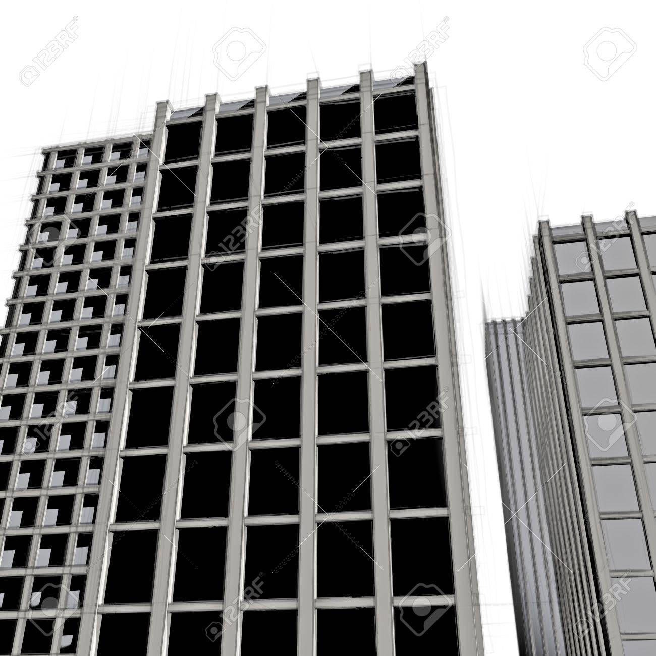 Favori Dessin Sombre Immeuble De Bureaux Moderne Banque D'Images Et  VV92