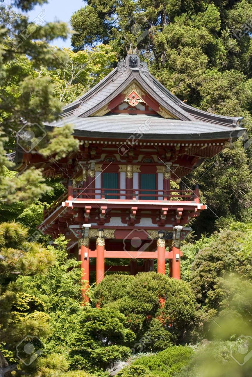 Temple Gate Located Near The Pagoda The Japanese Tea Garden