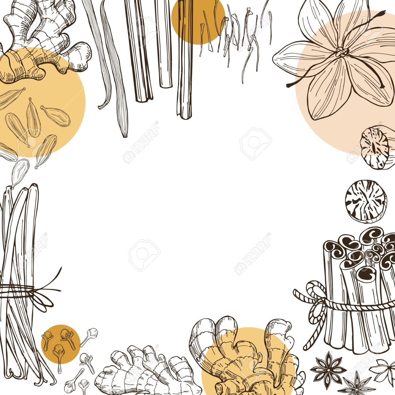 Spices for dessert, and baking.Vector background. Hand drawn sketch illustration - 149703411