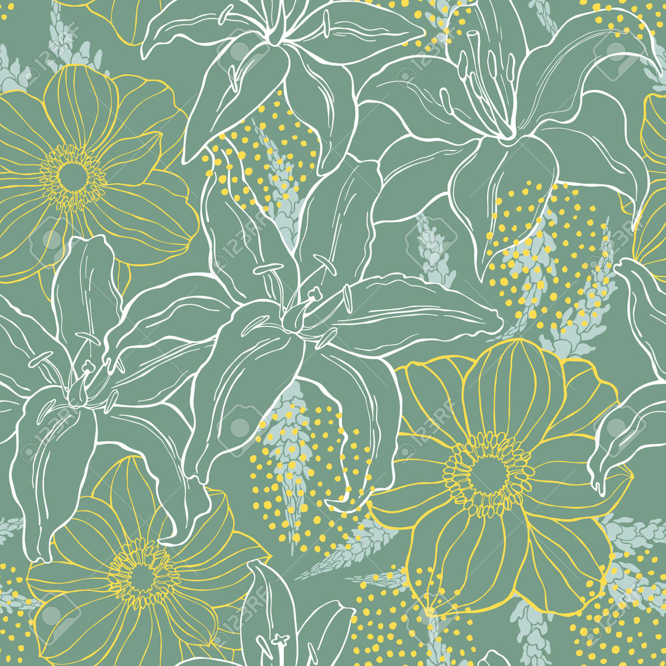 Floral background. Seamless vector pattern with hand drawn flowers - 150171663