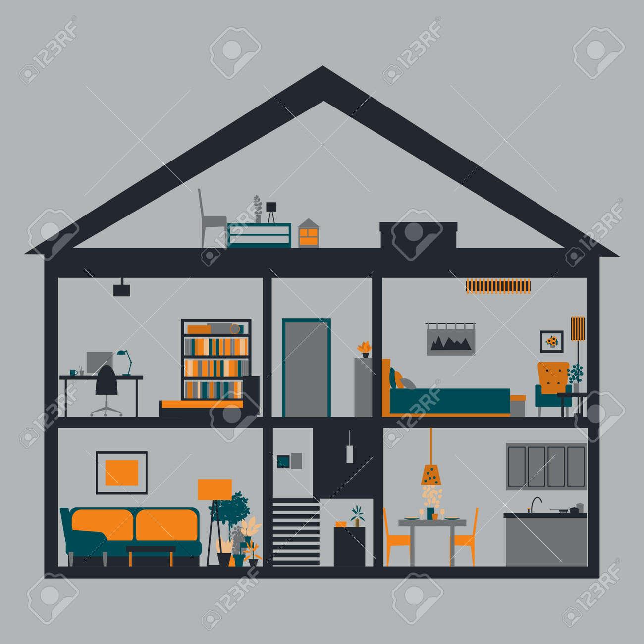 House in cut. Modern house interior.Vector illustration - 157982200