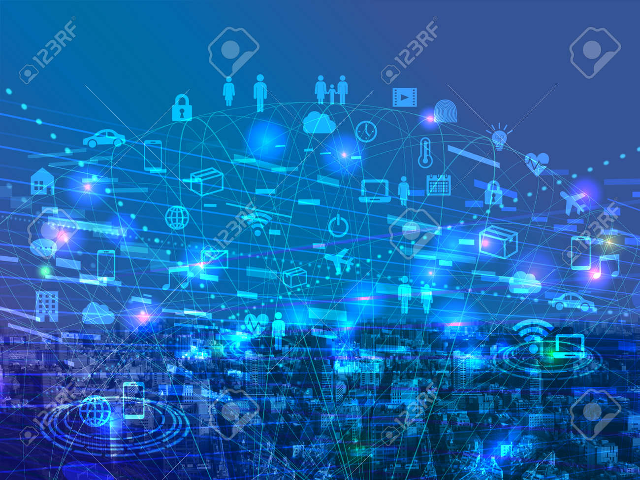 Digital network-blue cyberspace icon image - 134924752