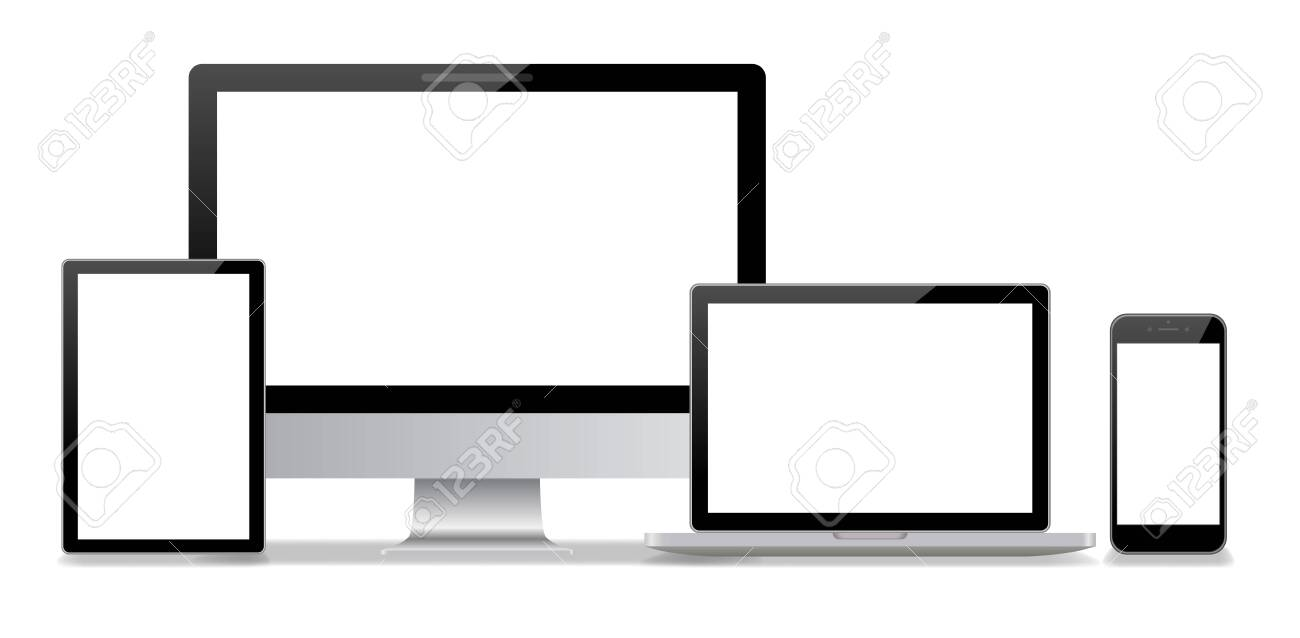 Desktop computer and smartphone white background - 145402068