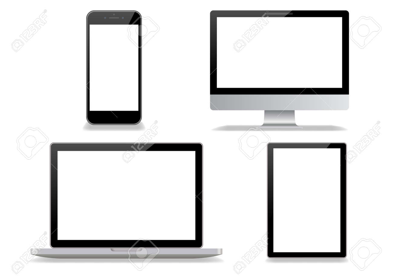Desktop computer and smartphone white background - 145402067