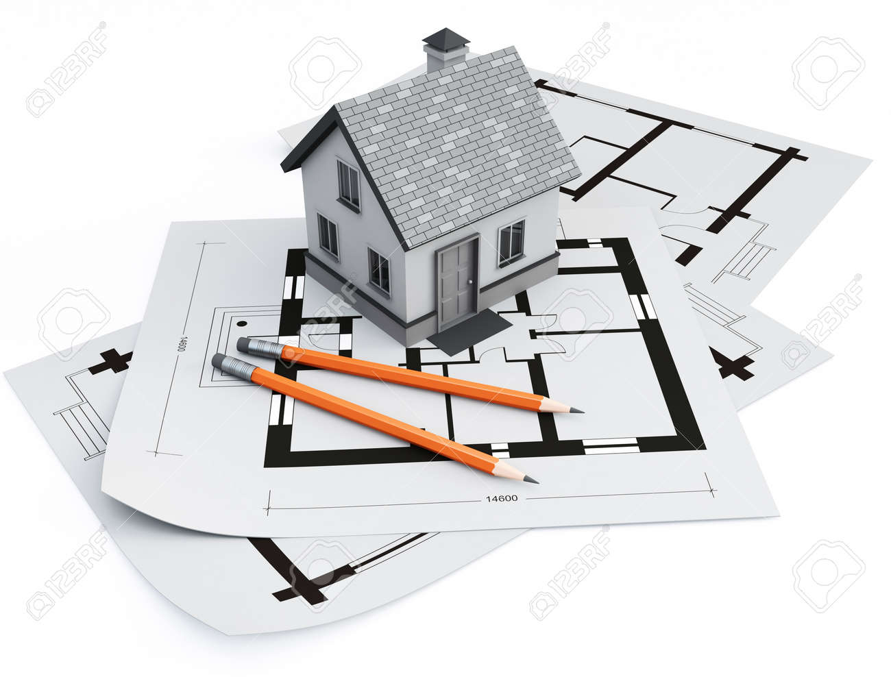 house on architecture blueprints Stock Photo - 9685637