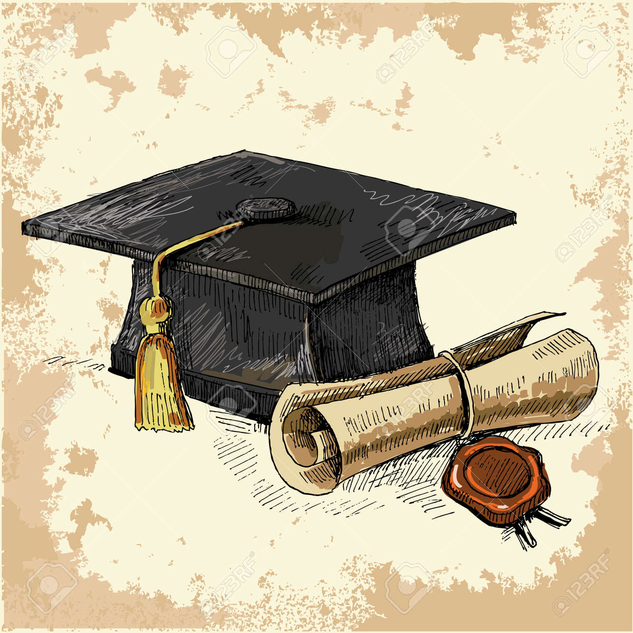 Graduation cap and diploma Stock Vector - 10677411