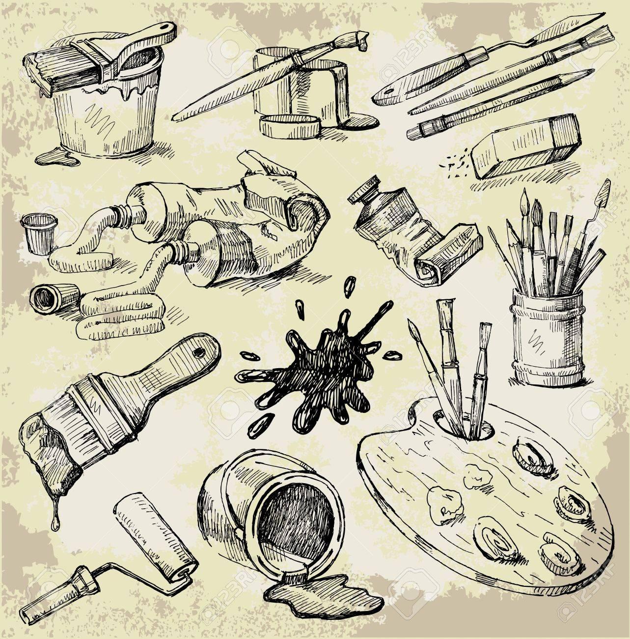 Set of Hand Drawn Artist's Stuff Stock Vector - 10798169