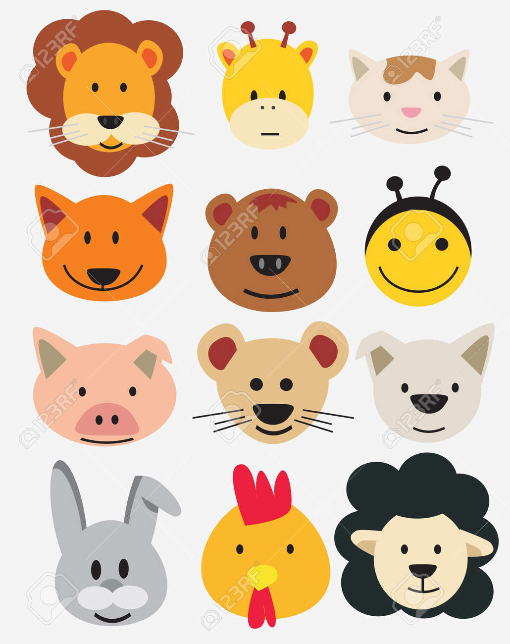 Illustration of animal faces. Stock Vector - 11087695