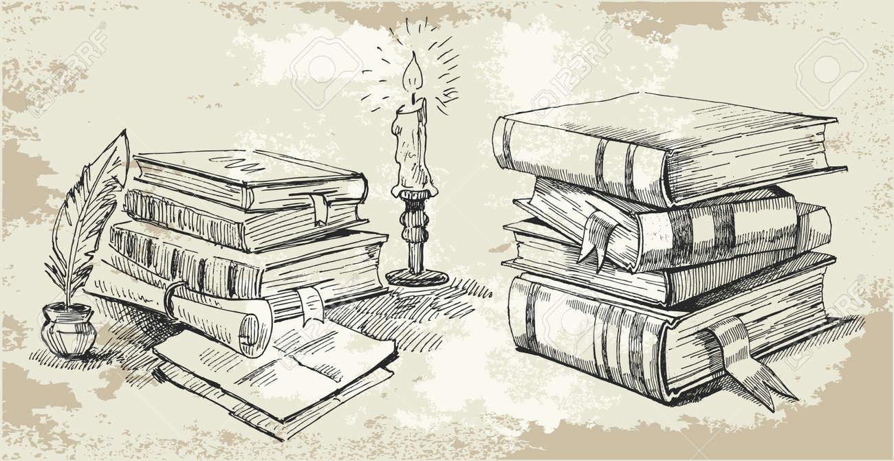Bücherstapel clipart schwarz weiß  Alte Bücher Lizenzfreie Vektorgrafiken Kaufen: 123RF
