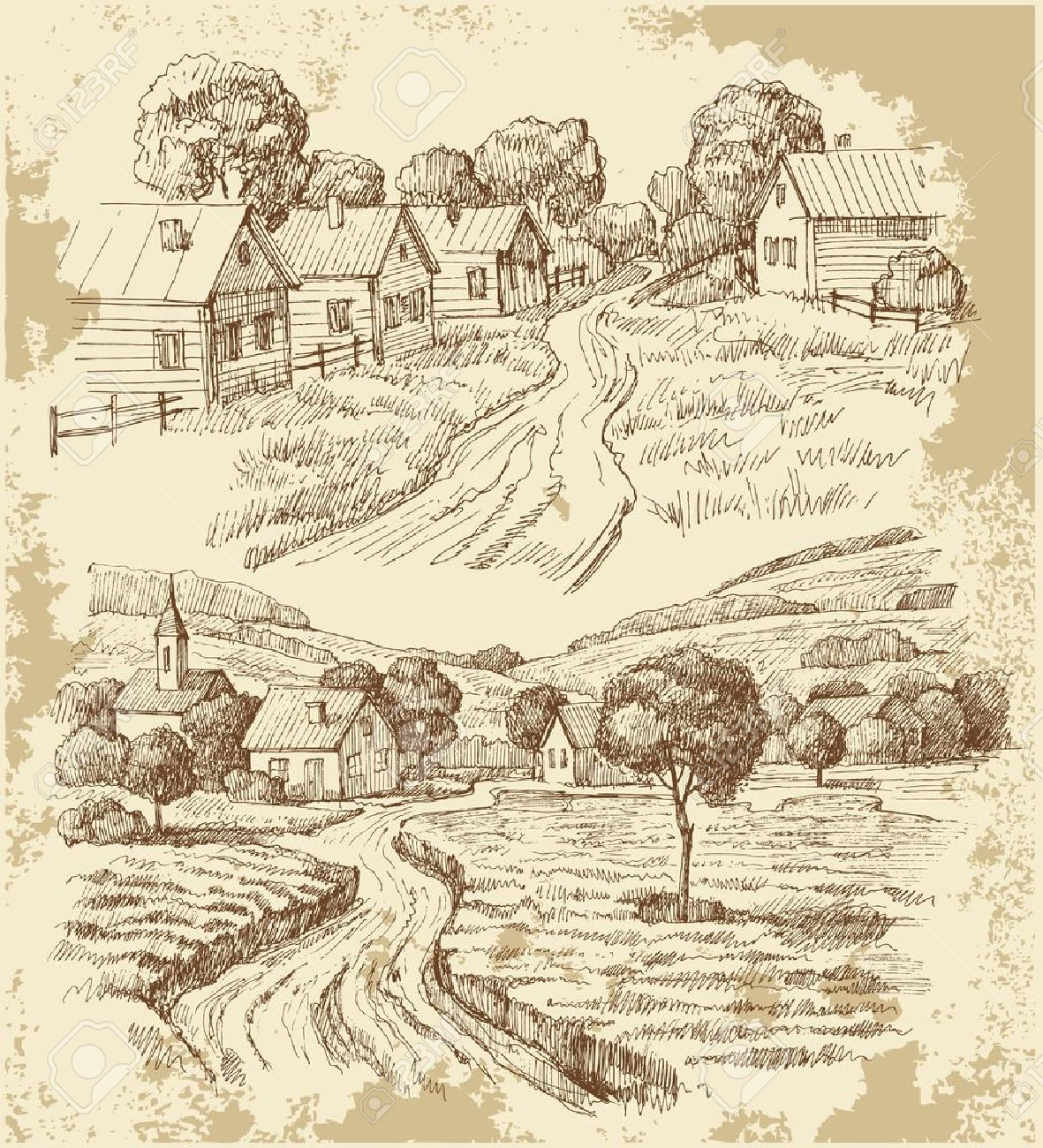 drawings : Village houses