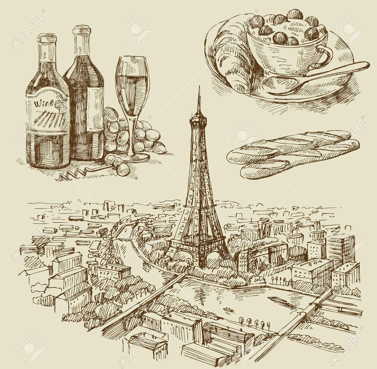 Paris hand drawn Stock Vector - 12284296
