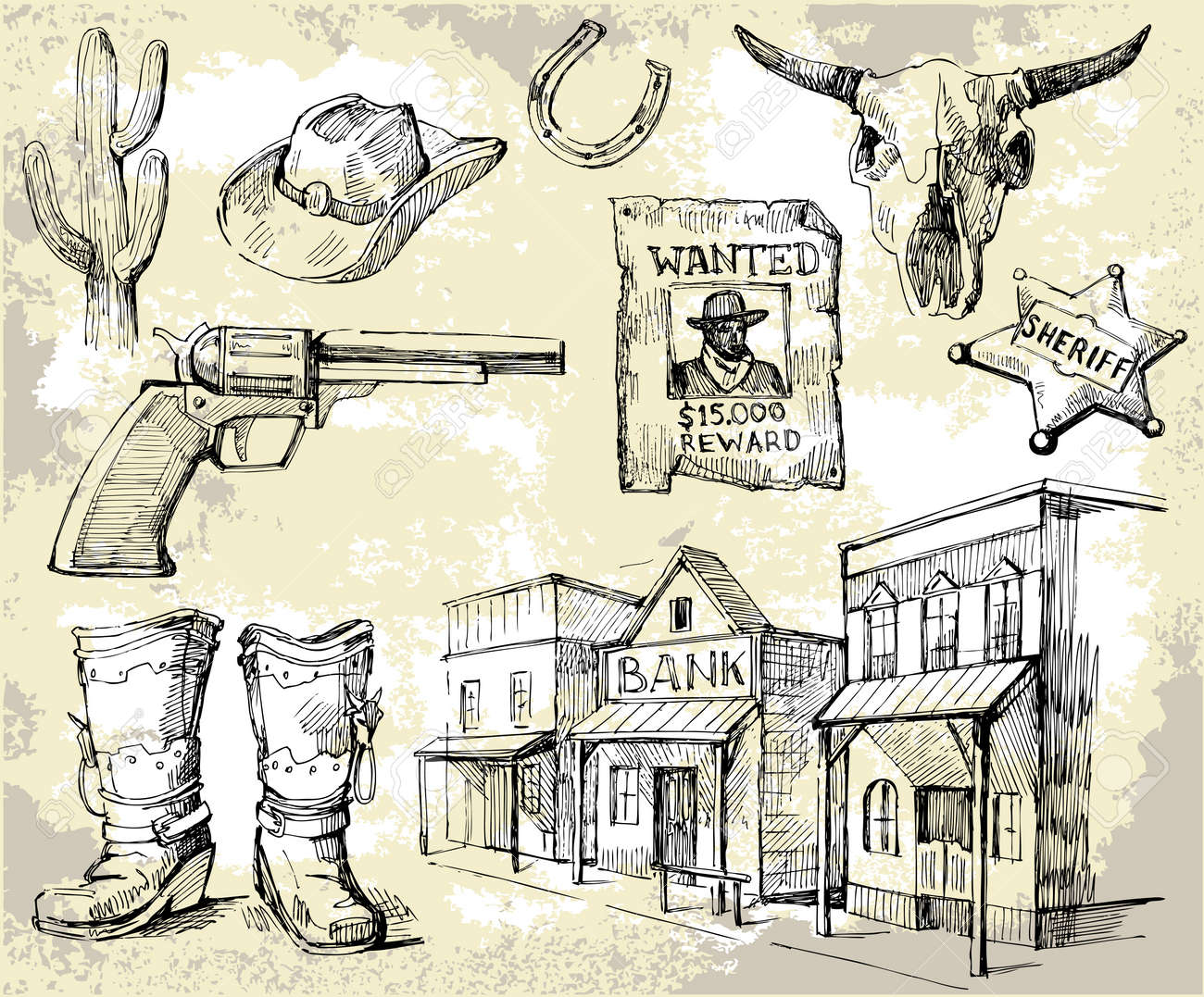hand drawn wild west set royalty free cliparts vectors and stock