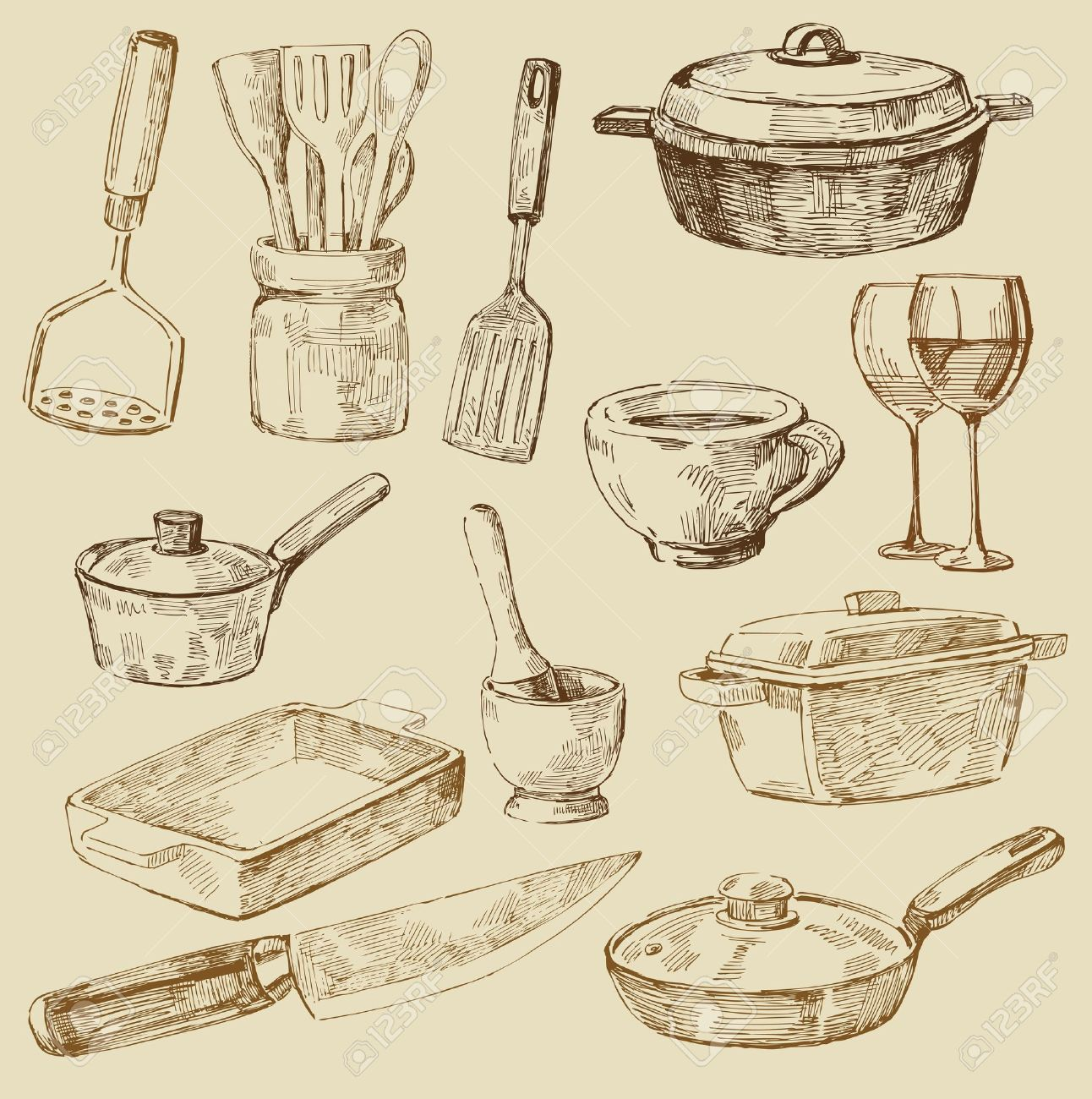 Kitchen Tools Drawings Cooking Doodles Royalty Free Cliparts Vectors And Stock