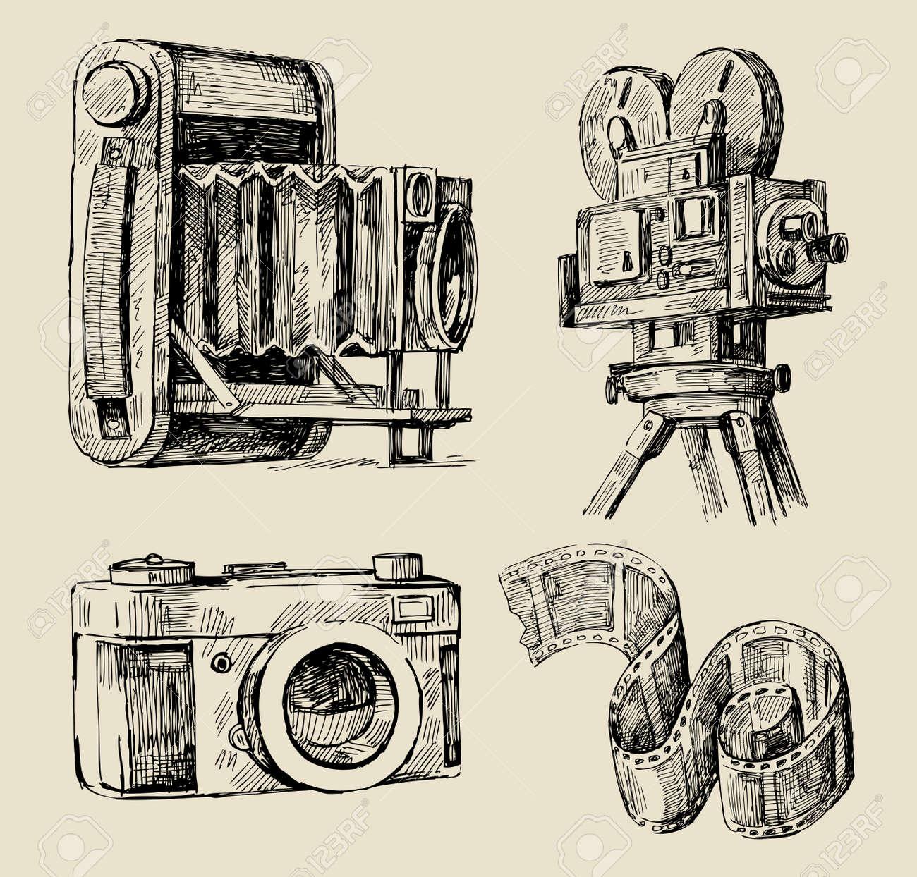 movie camera hand drawn Stock Vector - 13098687