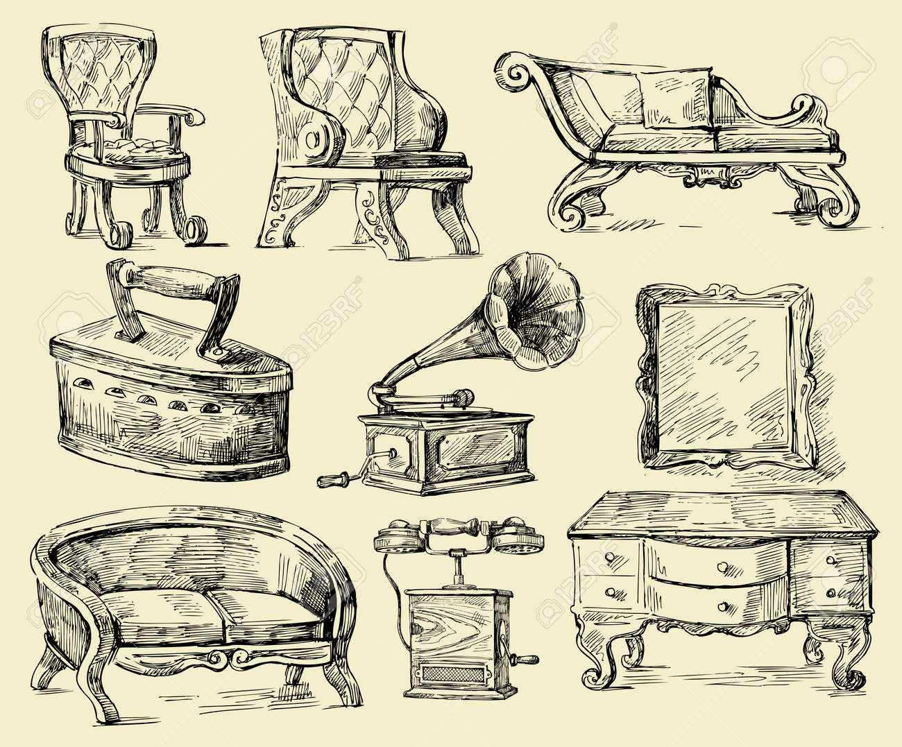 Antique chair drawing - Old Times Original Hand Drawn Set Stock Vector 13180683