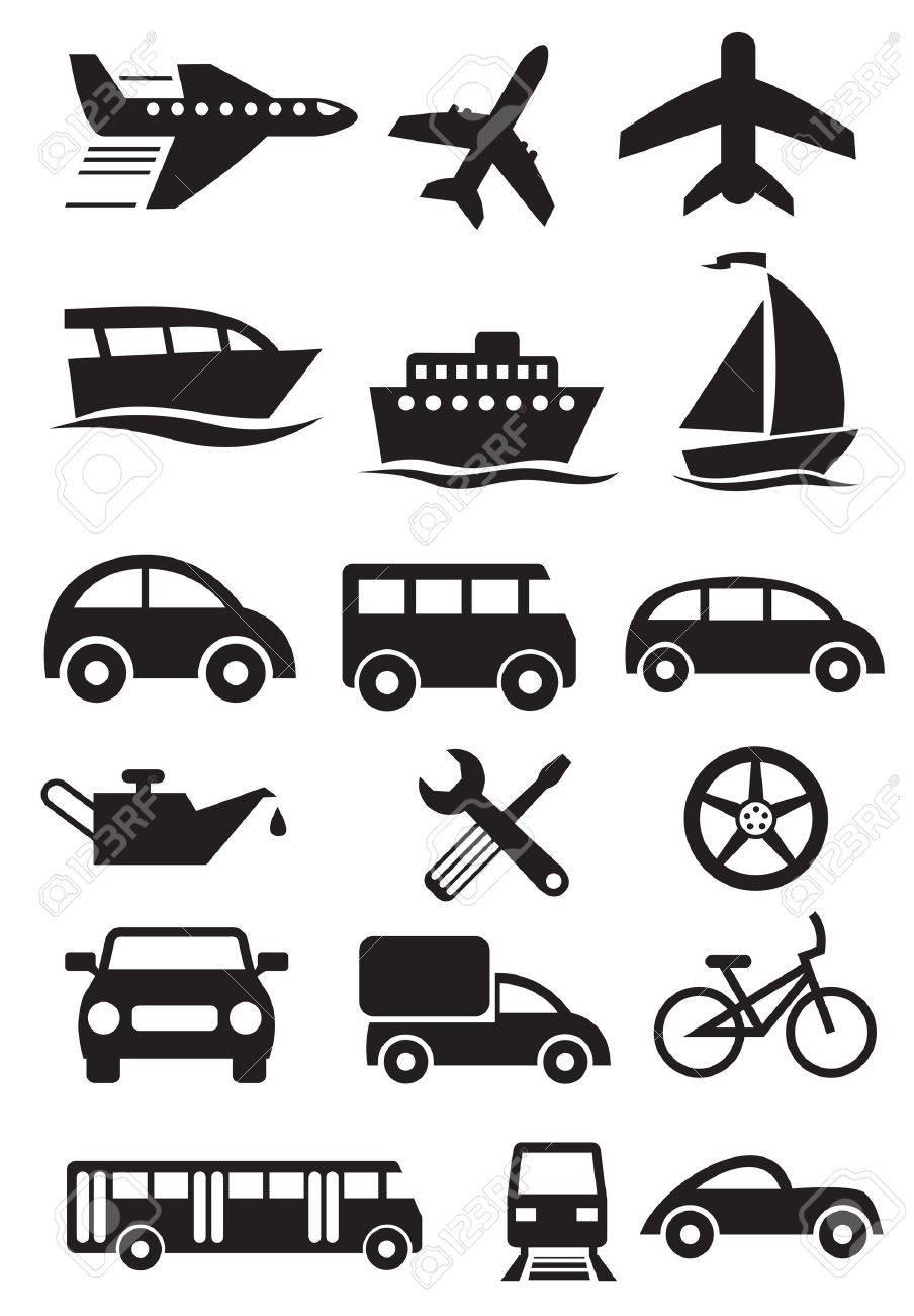 transportation stylish icons set Stock Vector - 13592679