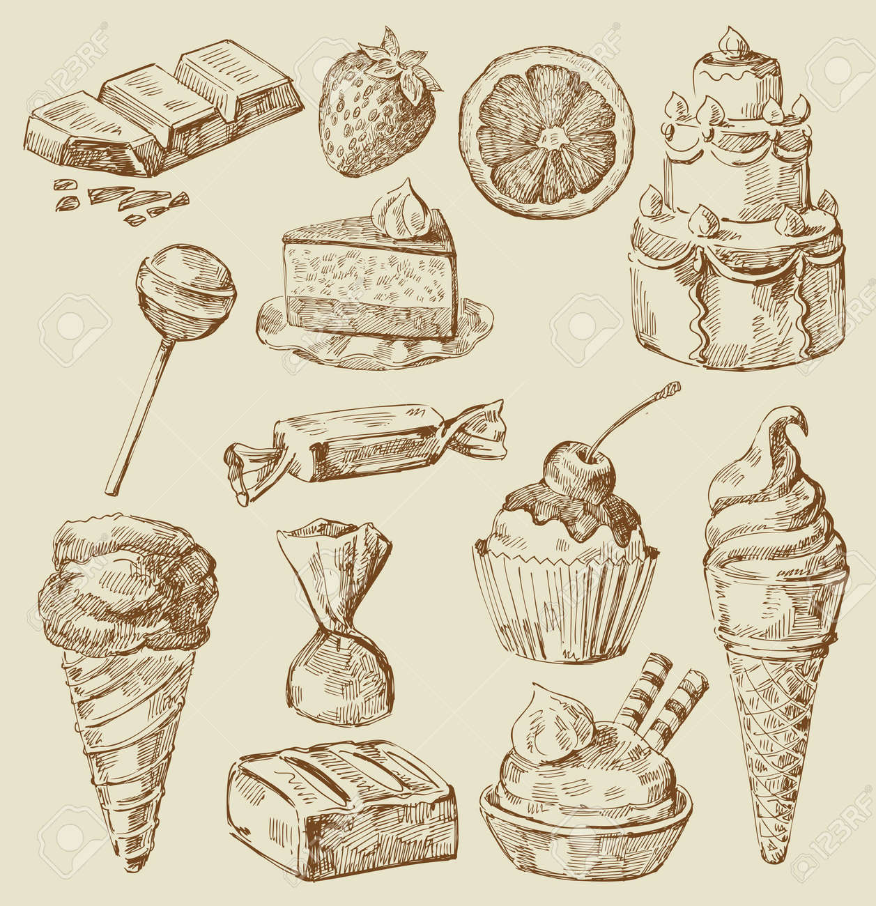 sweet collection Stock Vector - 13781285