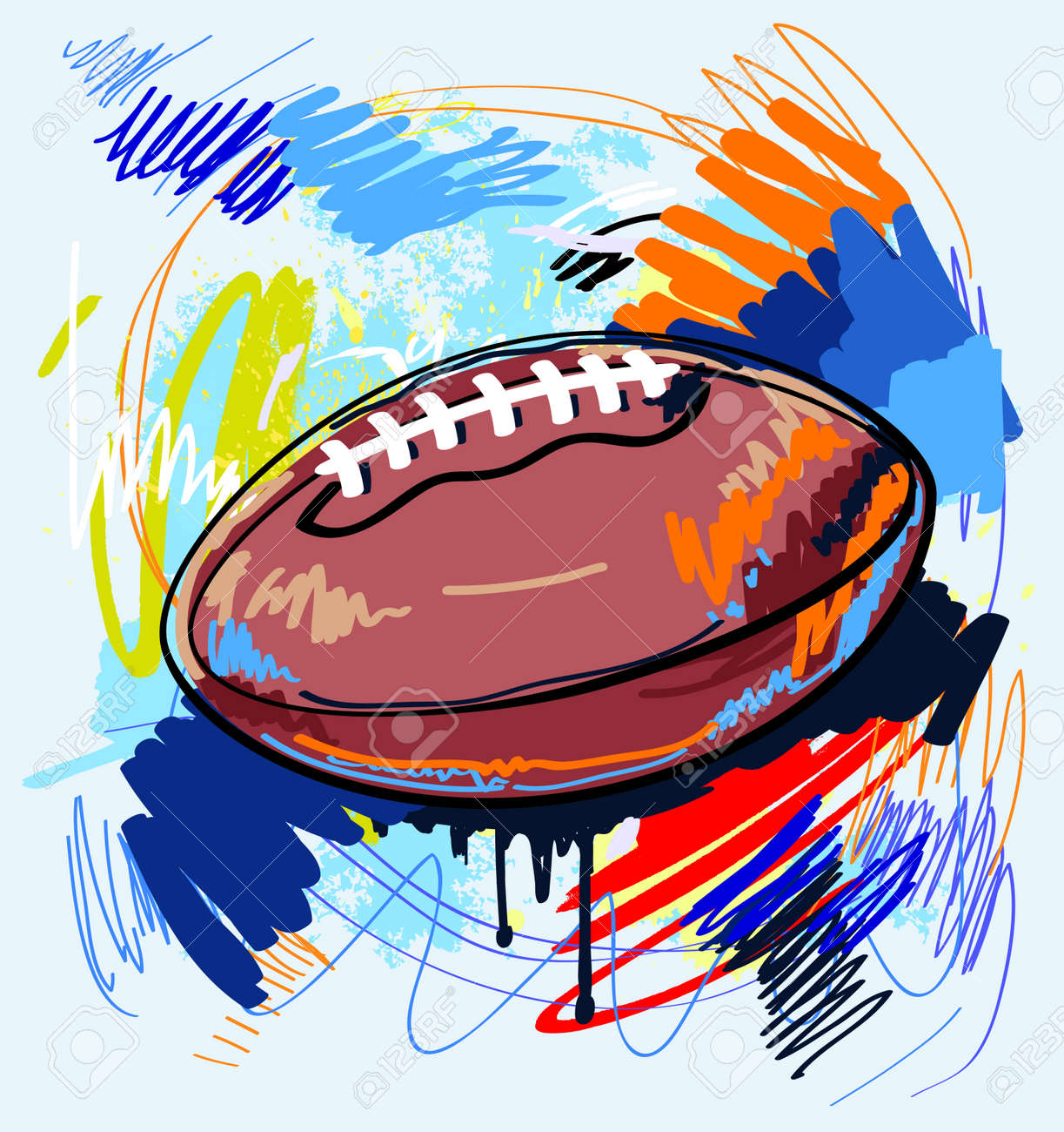 american football on color background Stock Vector - 13851228