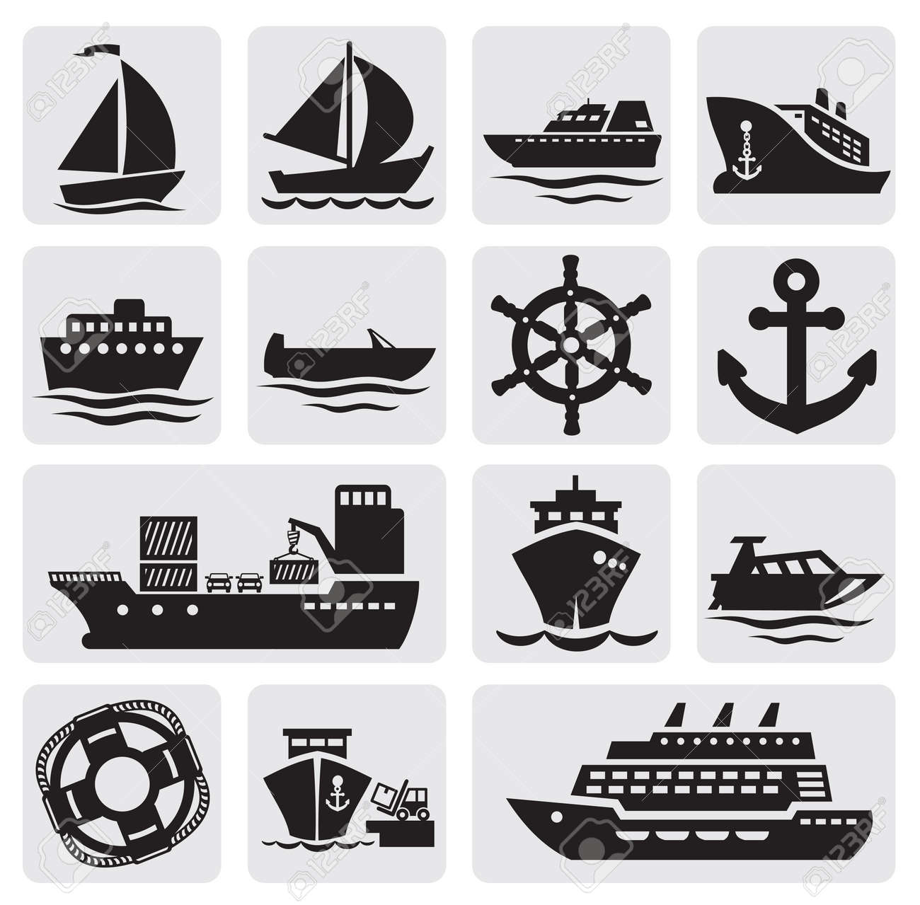 boat and ship icons set Stock Vector - 14697482