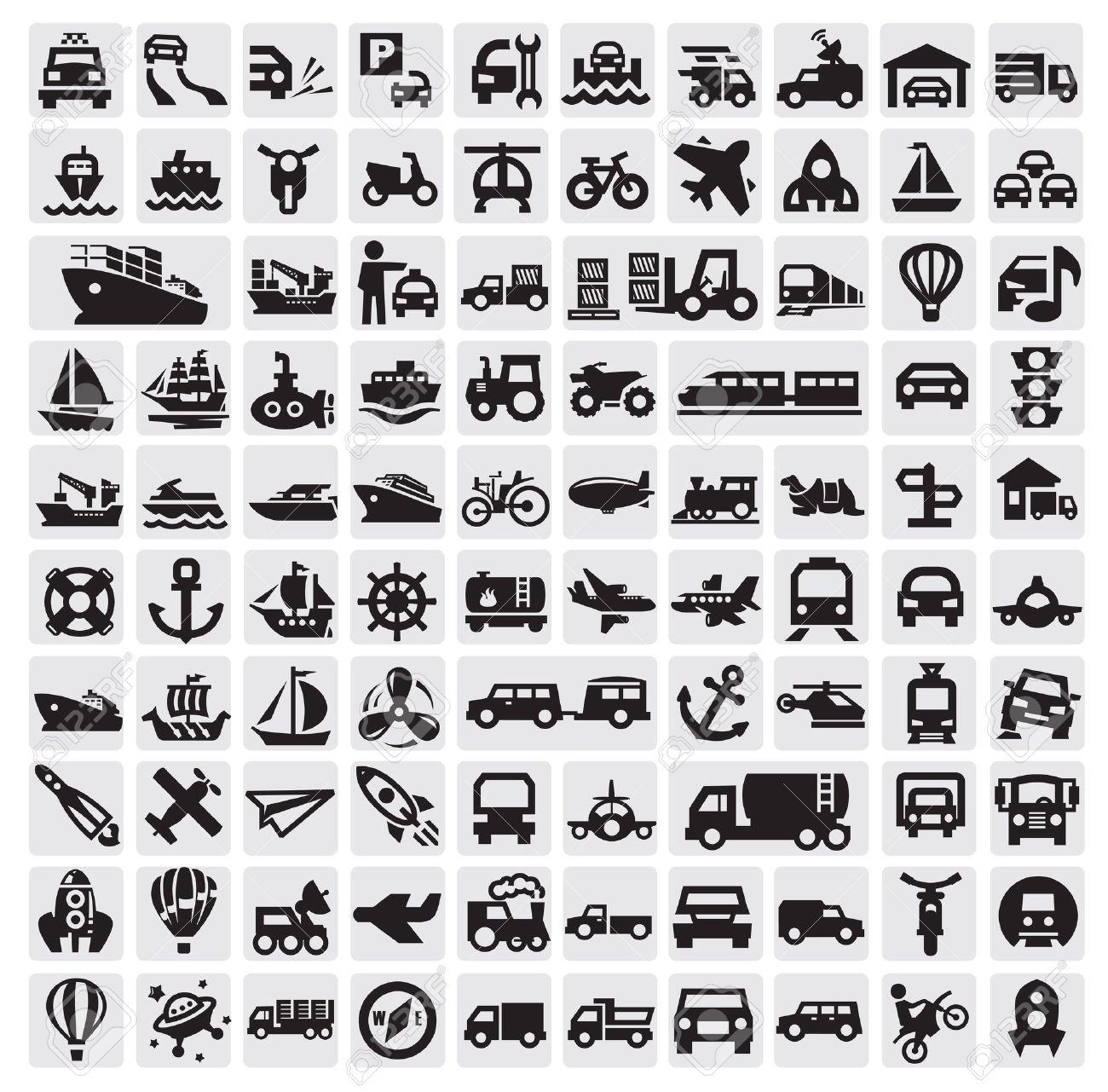 big transportation icons Stock Vector - 15479403