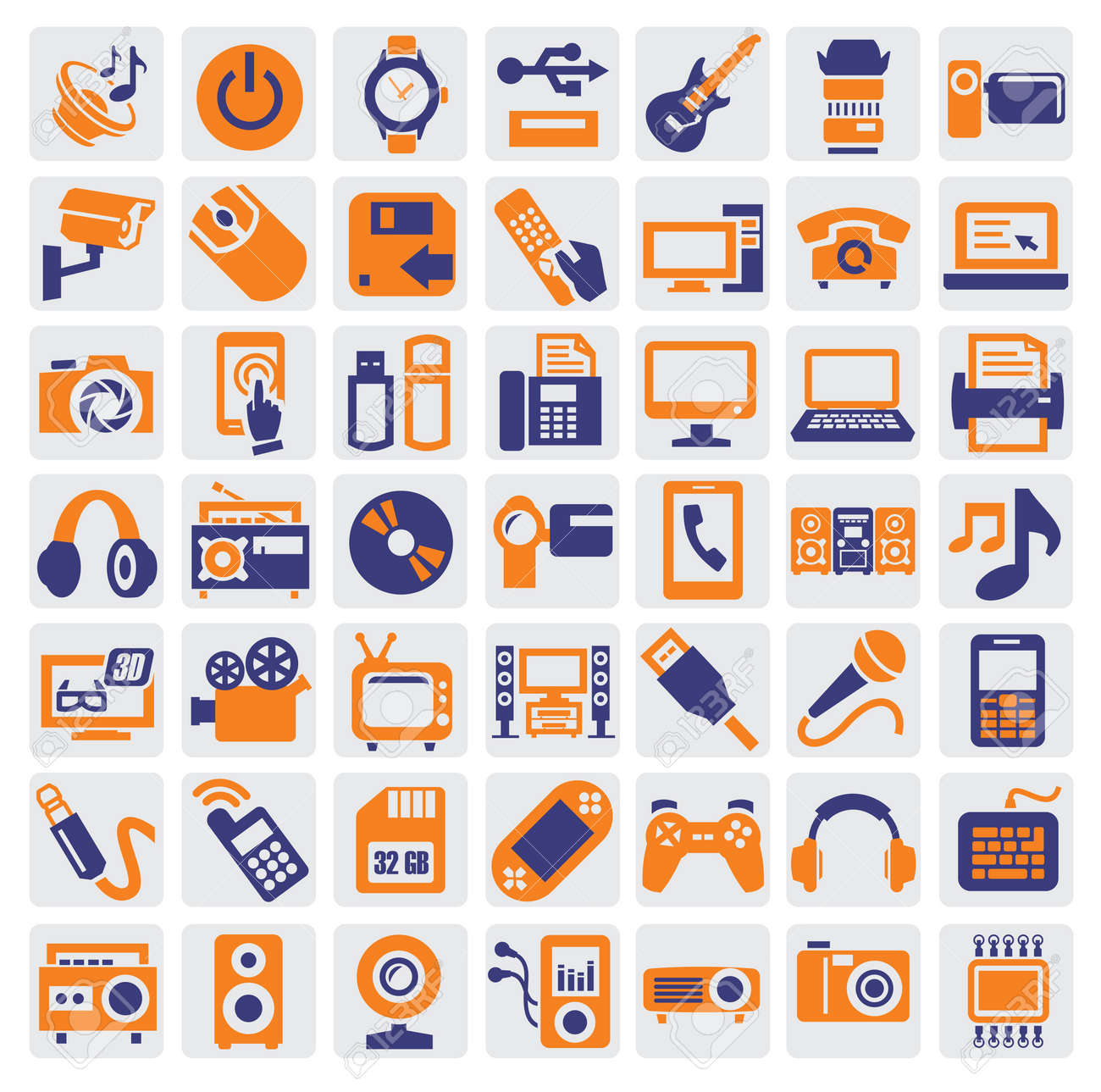 electronic devices icons Stock Vector - 15893765