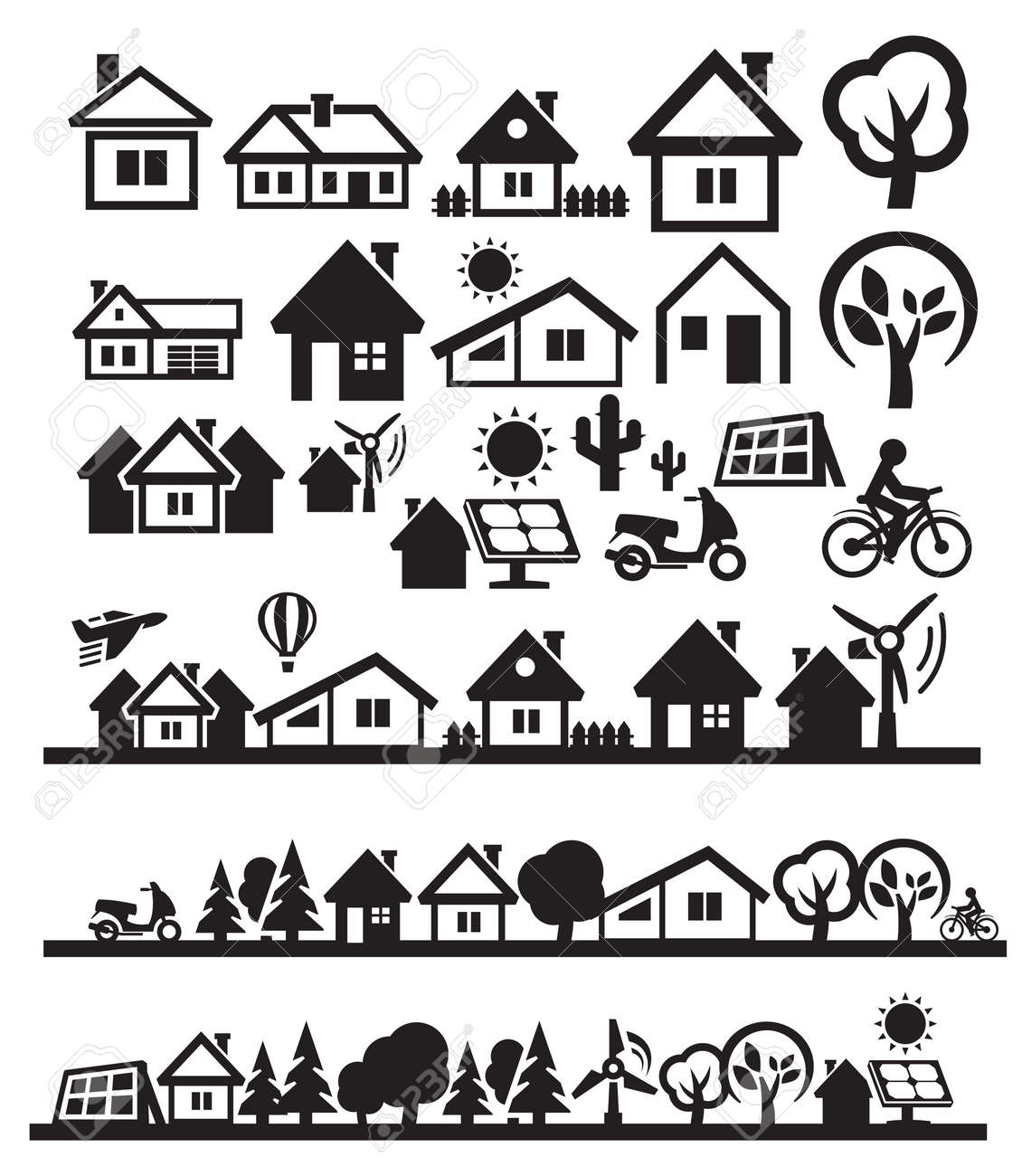 houses icons Stock Vector - 15963361